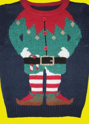 Новогодний свитер на 2-3 года,рост 92-98 см,george