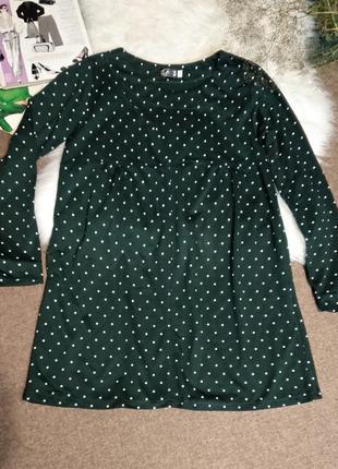 Платье туника зелёное с горошком