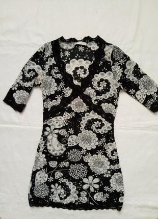 Платье -туника в цветочек,р-рs