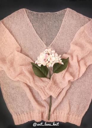 В наличии нежный свитер джемпер паутинка из итальянского кидмохера пудрово персиковый