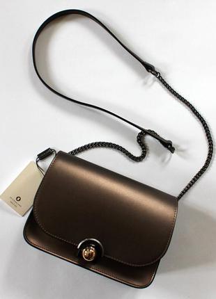 Шикарная итальянская кожаная (натуральная кожа) бронзовая сумка кроссбоди, италия