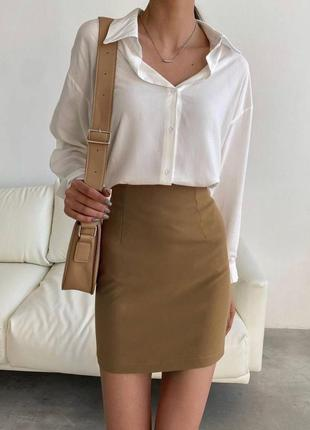 Юбка мини , коричневая юбка , офисная юбка