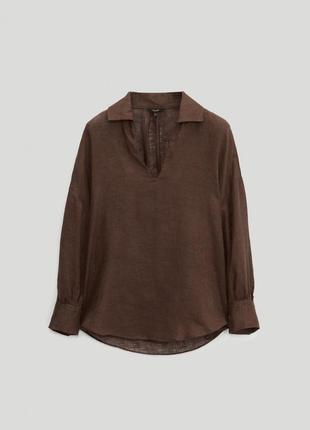 Шикарная льняная блуза рубашка  massimo dutti оригинал