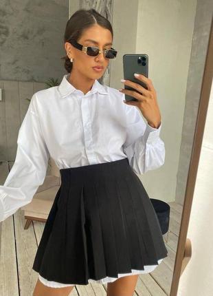 Женский костюм рубашка с чёрной юбкой на учебу
