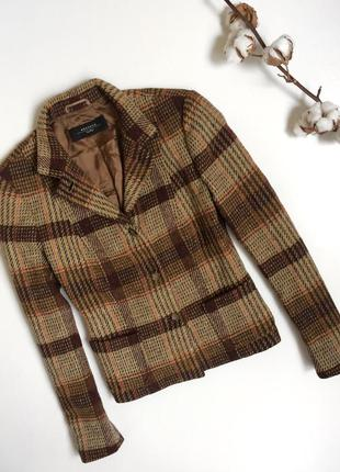 Тёплый шерстяной жакет пиджак в клетку max mara (m)
