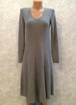 Платье теплое вязка рубчик трапеция коттон шерсть laura ashley