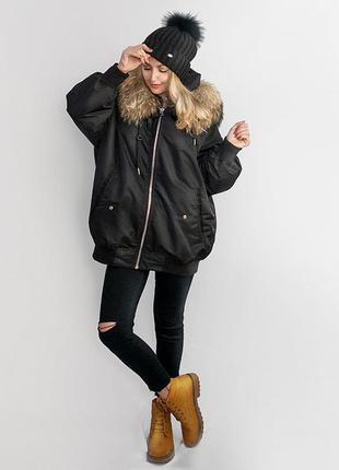 Удлиненная куртка унисекс на несколько сезонов (пух, мех) в размере оверсайз