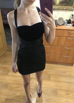 Чёрный платье сарафан с бархатом классическое по фигуре