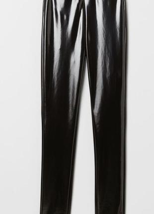 Женские лосины из блестящий чёрной ткани вот h&m