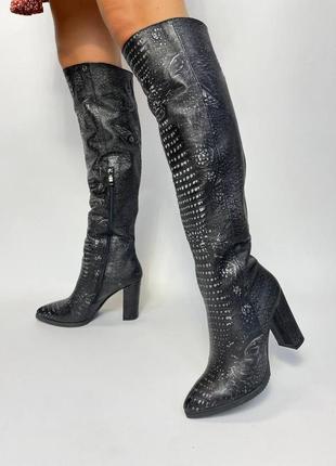 Шкіряні ботфорти високі сапоги на високому каблуку кожаные ботфорты сапоги