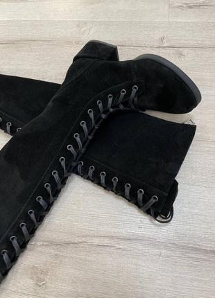 Замшеві ботфорти високі сапоги зимові осінні демі замшевые сапоги шнуровка осенние зимние