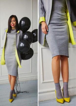Теплое коттоновое серый меланж платье-футляр миди в спортивном стиле pertutti м, наш 44