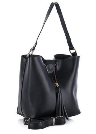 Сумка шоппер трендовая сумочка тоуд шопер c оригинальными кисточками