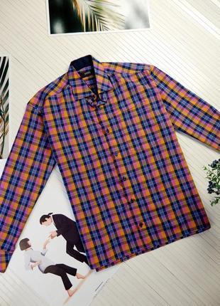 Мужская рубашка с длинным рукавом яркая в клетку сорочка l hugo boss