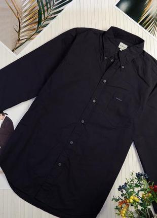 Мужская рубашка с длинным рукавом синяя демисезонная calvin klein