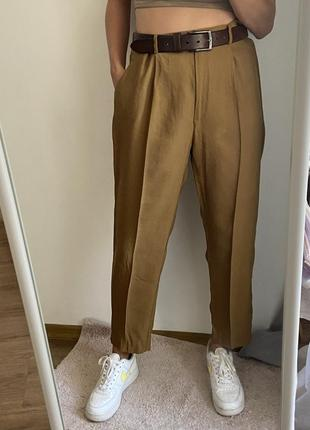 Брюки штаны с защипами высокая посадка