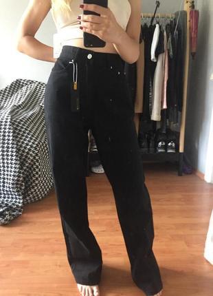 Чёрные джинсы штаны клёш высокая посадка