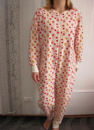 Теплая пижама слип кигуруми пряничек ночнушка халат л, наш 46, рост до 173 см