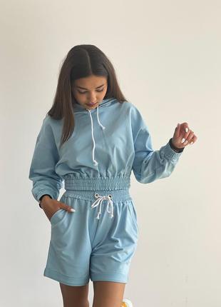 Костюм baysho худи оверсайз с шортами с закатом двунитка голубой (bd1201-420/bd0503-420)
