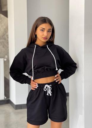 Костюм baysho худи с шортами с закатом двунитка черный (bd1201-100/bd0503-100)