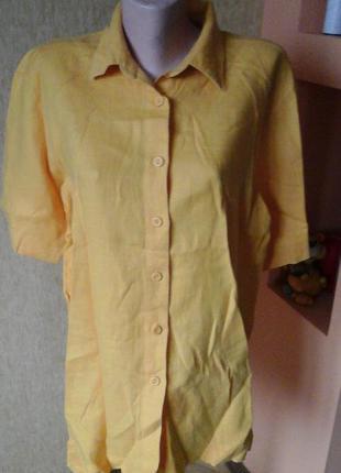 Желтая льняная рубашка фирмы bamboo