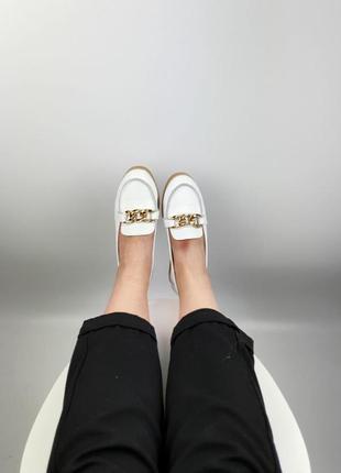 Балетки туфли лоферы натуральная кожа белые женские удобные