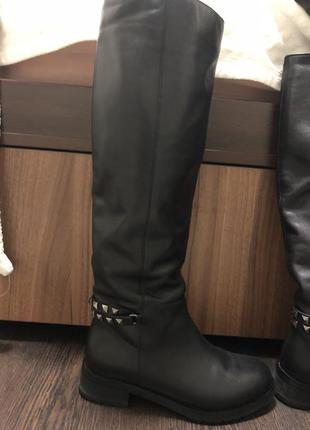 Сапоги зимние кожаные
