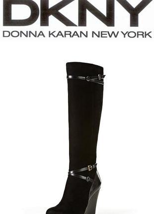 Женские черные замшевые сапоги donna karan, dkny 39-39,5