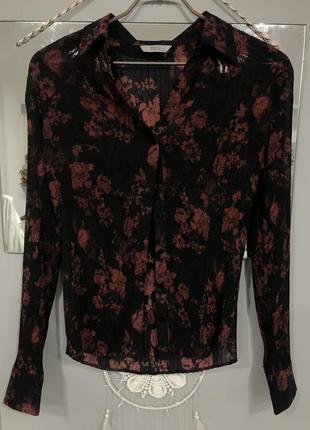 Чёрная шифоновая блуза marks&spencer