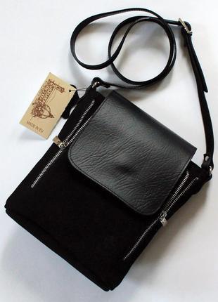 Итальянская черная замшевая (натуральная замша) сумка, vera pelle (италия)