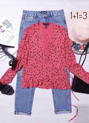 New look стильная блузка на запах xs длинный рукав яркая натуральная блуза рубашка узор