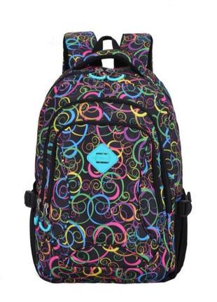 Школьный яркий вместительный рюкзак для девочек с принтом жіночий текстильний рюкзак