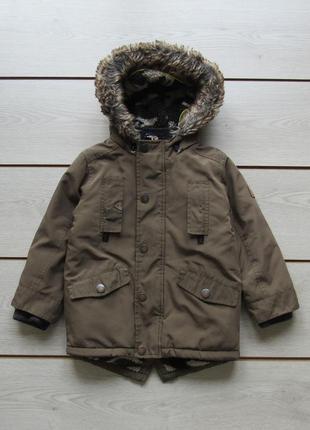 Теплая удлиненная куртка с капюшоном зима от next 3-4 года