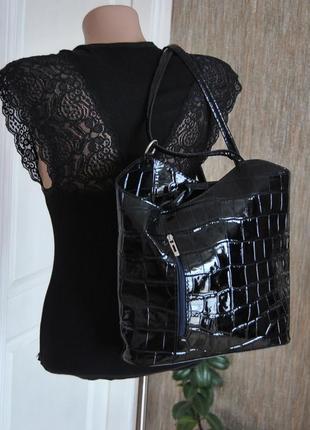 Кожаная сумка luca lorenzo / шкіряна сумка рюкзак