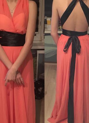 Вечернее платье шифон в пол s
