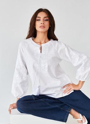 Новинка! белая женская блуза-вышиванка с белой вышивкой xs-xxxxl