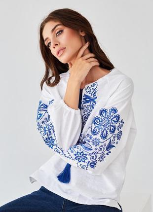 Новинка! белая женская блуза-вышиванка с синей вышивкой xs-xxxxl