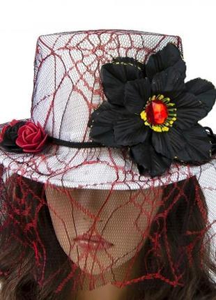 Белая шляпа с черным цветком стимпанк  викторианская готика + подарок