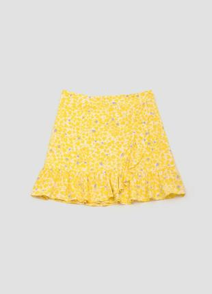 Юбка мини желтая на запах с рюшами воланами в принт camaieu