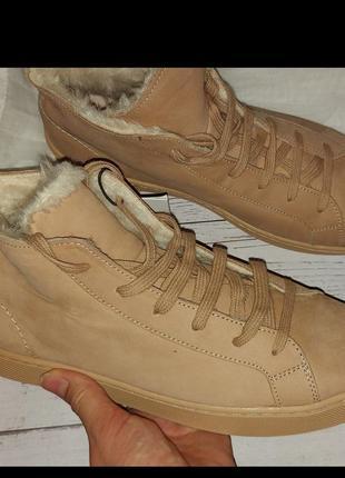 Натуральная кожа и мех ботинки женские zara