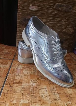 Шикарные серебряные туфли оксфорды р.37