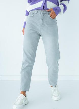 Однотонные джинсы с высокой посадкой