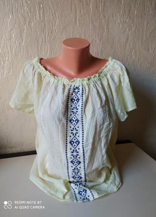 Стильна блуза, сорочка в національному стилі, вишиванка,коттон, розмір 44 (52)