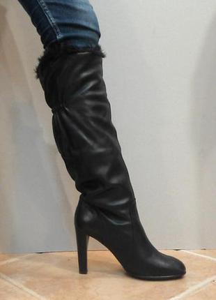 Зимние высокие кожаные сапоги стелька 26.5 см
