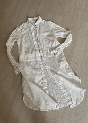 Платье рубашка туника белая хлопковая