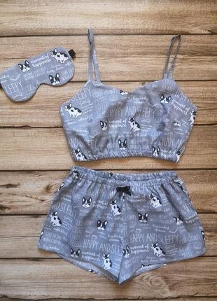Сатиновая пижамка, красивая хлопковая пижама, сатинова піжамка