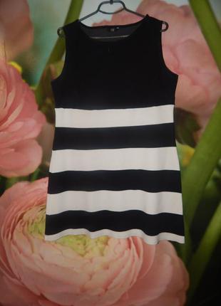 52-54р полосатое черно-белое платье, сарафан на каждый день