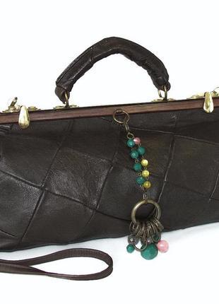 Интересная сумка саквояж, натуральная кожа