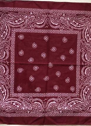 Бандана хлопковая платок повязка на голову на шею унисекс бордо