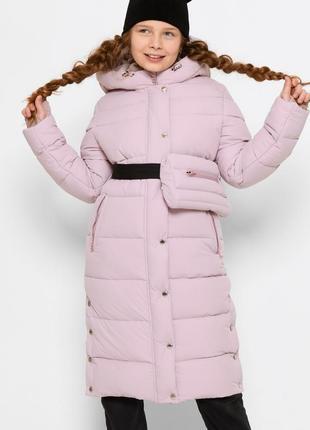 Длинная зимняя куртка x-woyz 8328 для девочек с сумкой. размеры 116- 164